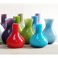 hand blown glass - Lovely MINI Color Flower Bottle Stand Hand Blown Glass Flower Vase Wedding Party Decoration SH856