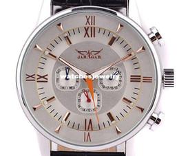 Promotion cru mens watch automatique Navire gratuit ! JARAGAR robe horloge style russe Rose or Vintage 6hands cuir automatique Mens Watch