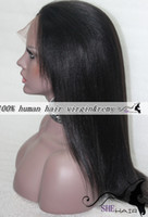 Wholesale Lace Front Wig fashion medium long length fashion Yaki Straight for black women human Hair Chinese virgin Remy wigs natural hairline best