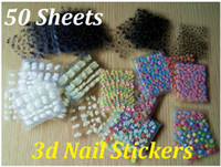 Wholesale 50 Sheet x D Design Tip Nail Art Sticker Decal Manicure Mix Color Flower NSE50