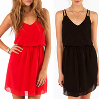 Casual Dresses Spaghetti Mini 2014 New Sexy Women Lady Fashion Chiffon V-Neck Sling Casual Party Club Vest Mini Dress