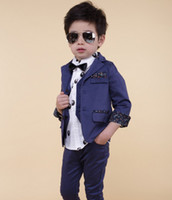Wholesale EMS Fast Shipping Korean Style Children Boys Gentry Dark Bule Suits Kids Suit Waistcoat Pants Fashion Gentleman Child Clothes G0109