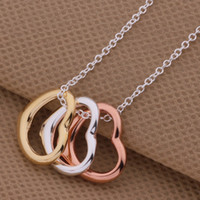 Wholesale High quality silver gold plated heart pendant necklace fashion jewelry for women wedding gifts