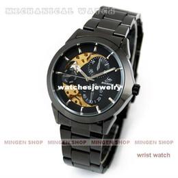 Wholesale MINGEN SHOP Fashion Timepiece steel strap Titanium Black Golden Automatic Skeleton Mechanical Men Watch U0002