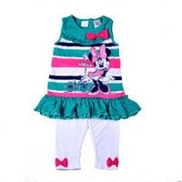 Cheap 4 sets lot 2014 New Fashion Girls Summer Clothing Set Minnie Green Striped Tops+Legging 2 Pieces Set Children's Fashion Suit In Stock Items
