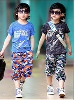 Boy Summer  Children's Outfits Summer baby boy Clothing set 4-12 years old Sport Black blue Tshirt+kids Camouflage pants kids suit
