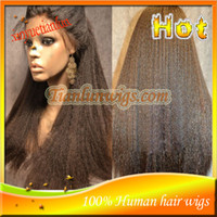 Wholesale Cheap Kinky Straight Full Lace Wig Brazilian Virgin Human Hair Lace Front Wigs For Black Women With Baby Hair Stock inch