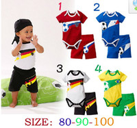 Boy Summer Short Retail New baby boys shortsleeve tracksuit 100% cotton 2014 summer 4 colors rompers+shorts 2 piece set brazil football jersey baby clothes
