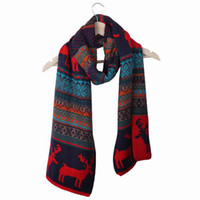 Wholesale 1 Piece New Trendy Charm Unisex Cashmere Multi Colored Red Deer and Flower Printed Ring Scarves cm cm