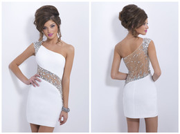 Wholesale Jeweled Illusion Short White Cocktail Dresses Sheath One Shoulder Elegant Sheer Back Crystal and Beads Detail Evening Gowns X19