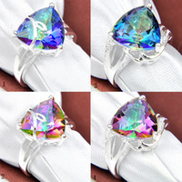 4pcs 925 silver crystal gemstone jewelry women rings for par...