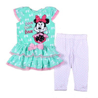 Wholesale 4 sets Novelty Girls Summer Clothing Set Minnie Designer Green T shirt White Polka Dot Legging Set High Quality Kids Clothes