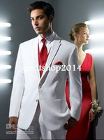 Black 100% Linen Polo Wholesale - Custom Made Size and Color White Suit Red Vest Groom Tuxedos Best Man Groomsmen Men Wedding Suits Bridegroom