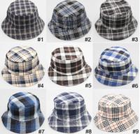 Wholesale 18 designs Men lady plaid Field activities adult hat sun hat canvas material