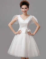 V Neck A Line Bridesmaid Dress Lace Tulle Knee Length Evenin...