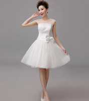 Bow A Line Bridesmaid Dress Lace Tulle Knee Length Evening D...