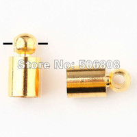 Charms Jewelry Findings Guangdong China (Mainland) 500PCS LOT Wholesale Metal Gold Plated End Bead Caps For 3.5mm Leather Cord Jewelry Findings, Free Nickel And lead