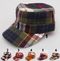Wholesale 6 styles Adjustable Classic Army Military check Flat Top Cap hat baseball cap Sun Outdoor Travel Sports cotton Cap Hat