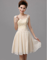 Champagne Lace A Line Bridesmaid Dress Chiffon Knee Length O...