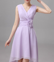Chiffon V Neck Flower Bridesmaid Dress High Low Knee Length ...