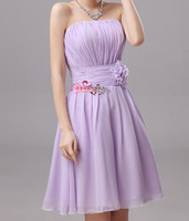 Chiffon Strapless Flower Bridesmaid Dress Violet Knee Length...