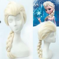 Wholesale 1404z FROZEN Elsa wig frozen wigs White Silver Blonde Weaving Braid Tails Movies frozen Snow Queen Cosplay Wig women wigs