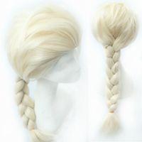 Cheap 10pcs FROZEN Elsa wig frozen wigs Silver white Blonde Weaving Braid Tails Movies frozen Snow Queen Cosplay Wig women wigs cheap 38240940593