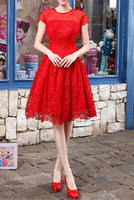 Red Lace Knee Length Evening Dresses Short Sleeve 2014 Girls...
