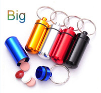 Wholesale Aluminum Pill Box Case Bottle Holder Container Keychain Keychain Key Chain Key Ring Promotion Gift Travel Must DHL Free Larger Size