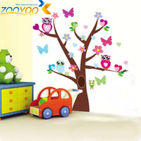 Wholesale wise owls on colorful tree wall stickers for kids rooms ZooYoo1006 decorative wall decor removable pvc wall decal