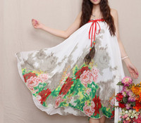 Casual Dresses Strapless Tea Length National new spring and summer wind full-skirted dress dress