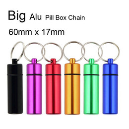 Waterproof Aluminum Pill Box Case Bottle Holder Container Keychain Key Chain Key Ring Promotion Gift Travel Must 300PCS DHL Free Larger Size