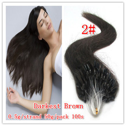 "16""-24"" 500s 0.5g  s #2 dark brown Loop Micro Ring Hair Extension,100% Remy brazilian Human Hair Extensions dhl free shpping"