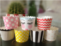 Wholesale birthday party paper MUFFIN paper baking cup Stripe and Dot Paper CUPCAKE CASES cake cups cake holder