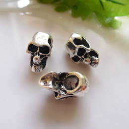 200pcs Wholesale Metal Antique Silver plated Skull Shape Charm European Large Hole Beads Fit Bracelet Chain Jewelry Accessorie
