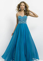 Reference Images Sweetheart Chiffon New Refine Beaded Bodice Chiffon Long Peacock Blue Prom Dress