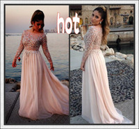 Reference Images Scoop Chiffon 2014 Gorgeous Crystal Beaded Elie Saab Prom Dresses Sheer Scoop Neck Long Sleeves A-Line Floor-Length Chiffon Evening Gowns Pageant Dress