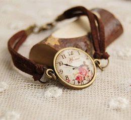 Novelty Rose Print Leather Bracelets for Best Friends Vintage Bronzed Bracelets Glass Cameo Bracelets Birthday Gifts sl009