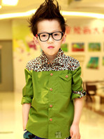 Wholesale Korean new boys fashion high qaulity shirts kids leopard long sleeve shirts kid boys children clothing lcagmy E0033