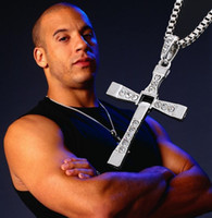 Wholesale 1pcs Alloy diamond FAST and FURIOUS Dominic Toretto Cross Pendant Necklace CM high quality silver plated necklace a395