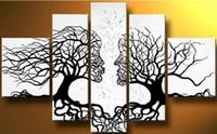 al por mayor white canvas art-Envío libre, pintura al óleo hecha a mano en la decoración casera barata del arte de la pared grande del arte moderno de la pared de 5panel del extracto del blanco del negro del beso del árbol de la lona, CX038