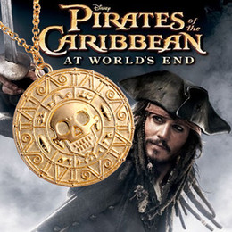 Wholesale Hot Die Casting Pirates of the Caribbean Aztec gold pendant necklace skull necklace a369