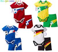 Summer baby clothes soccer - Hot Sale Kids suit Summer baby clothing suits Boys and girls soccer sleeved Romper Pants Baby Set