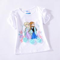 Girl Summer Standard 2014 Brand New Cute Frozen Princess Elsa Anna 2 Princess Girls short sleeve t-shirt top tees cartoon cotton t shirt white 10pcs lot