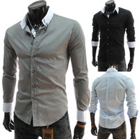Wholesale 2014 Hot Selling Summer Men Shirts Contrasted Color Collar Slim Plus Size Shirts Turn down Collar Shirts Colors Size