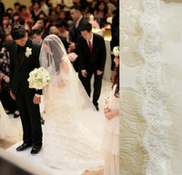Wholesale Long wedding veil New Hote sale bridal veil cathedral veil one Tiers Face Hiding bridal veil Eyelash lace edge flyaway veil