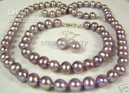 Fine 8-9mm Natural Muscatel purple grapes Pearl Necklace Bracelet Earrings Set