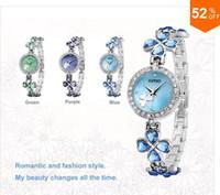 Dress acrylic crystal watch - Stainess Steel Strap watches girl watch bracelet watch ladies watch fashion four leaf clover crystal diamond fashion watch