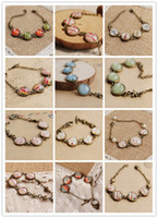 Wholesale New Bohemian Charm Bracelet Vintage Glass Gem Chain Bracelet Handmade Bronze Bracelet Mixed Design