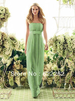 A-Line Reference Images Scoop Hot Selling Fashion Empire Waist Floor Length Pencil Chiffon Lime Green Bridesmaid Dress A Line Strapless Pleated